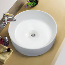 Kinbor Bathroom Round Ceramic Vessel Sink Modern Above Counter Basin Bowl,White