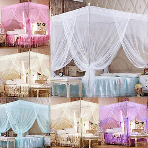 PRINCESS 4 CORNER LACE CANOPY MOSQUITO NET FOR TWIN FULL QUEEN KING BED UK