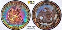 1846 VF 35 SEATED LIBERTY HALF DOLLAR/MEDIUM DATE/TYPE-1  NO MOTTO! LOOKS XF/AU