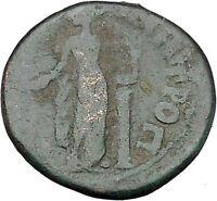 ANTONINUS PIUS 138AD Tomis APOLLO LYRE COLUMN Ancient Roman Coin i45430