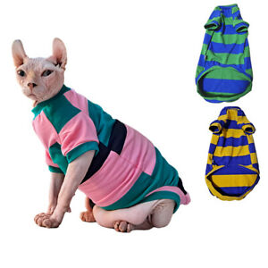 Hairless Cats Cute Stripe T-Shirts Breathable 95% Cotton Clothes Pullover Pajama