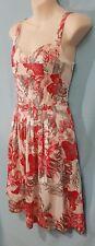 Size 10 BROWN SUGAR sleeveless straps cotton blend sun dress floral red white