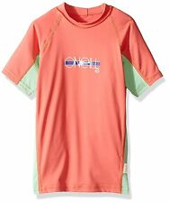 O'Neill Skins S/S Crew Rashguard - Youth Girls - 16, Coral/Mint/Coral