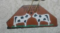 Folk Art Artist Primitive Painting Slate Signed Cows Biblical Art Brut Vintage