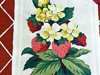 Sale! 2YDS 30s Strawberry Lattice Barkcloth Era Vintage Fabric Fruit Yardage DIY