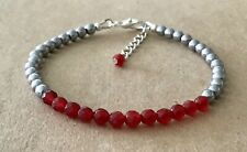 Silver Plated, Friendship Bracelet Faceted Red Agate+Silver Hematite Beaded,