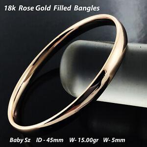 Bangle Real 18K Rose Pink Gold Filled Solid Baby Girl Size Cuff Bracelet 45mm