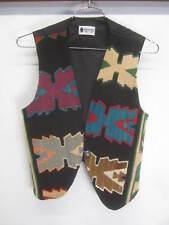 vtg Aegean Southwestern Vest native print serdar collection woven wool rug sz L