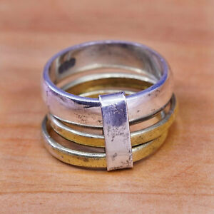 female ring brass plate ring made of brass wire and silver mixed metal ring tribal ring Sterling Silver brass phalanx ring
