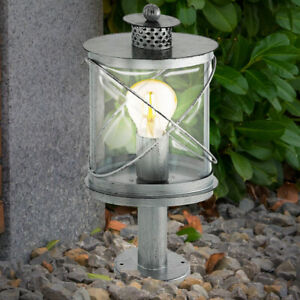 Vintage Sockel Laterne Leuchte Garten Außen Beleuchtung Steh Lampe silber antik