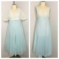 Vintage 60s Nylon Lace Lingerie Nightgown Slip Size S Baby Blue VLV Rockabilly