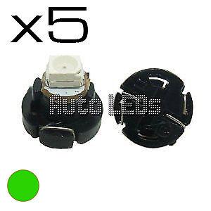 5 Green SMD LED T4.2 Neo Wedge 12v Interior LED Bulb
