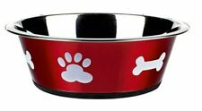 2500ml Dog Cat Pet Bowl Red Colour Stainless Steel Dish Classic Posh Paws