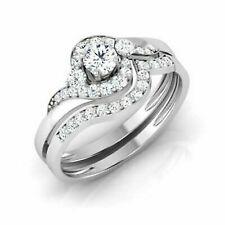 10k White Gold 1/2ct Round Cut Diamond Halo Engagement Bridal Set Ring