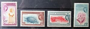 Q3 - BRIT HONDURAS 1953/62 COMP. SET OF 12 + EXTRA'S MINT ON TWO STOCK-CARDS.