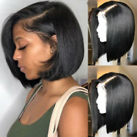 US 8A 100% Real Brazilian Virgin Human Hair Lace Front Wig Short Bob Full Wigs P