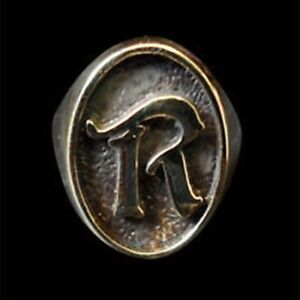 Solid Bronze R Single Letter Oval biker Ring Custom size Handmade bespoken