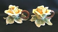 Yellow Rose Candle Holders Made in Italy Ceramic by Nora Fenton Set of 2