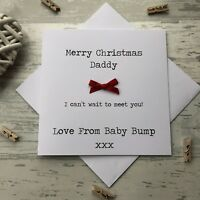 Love from the Baby Bump 1st Christmas Card Daddy Dad Grandad to Be Red Bow
