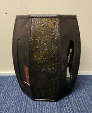 DAMAGED Chinese Footstool Dark Brown Large Oriental Style Stool