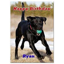 C104; gran tarjeta de cumpleaños personalizada; hecho a medida para cualquier nombre; Negro Perro de laboratorio