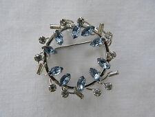 Cut & Clear Round/Rectangular Rhinestones Vtg Ornate Brooch w/Sky Blue Marquise