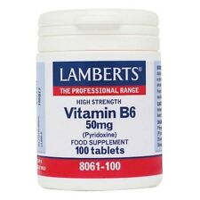 Lamberts Vitamin B6 50 mg (Pyridoxine) | High Strength, Supplement - 100 Tablets