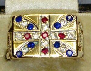 9ct Yellow Gold Natural Ruby, Sapphire & Diamond Union Jack Signet Ring, Sz M/N