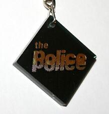 Vintage The Police Rock Band Collectors Black Plexiglass Key Chain 1980s Nos