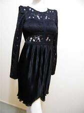 SUPRE BLACK SIZE XXS MIXED FABRIC DRESS WITH PLEATS NEW WITH TAGS