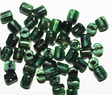 Malakite Green Tube Czech Pressed Glass Beads 6mm (pack of 50)