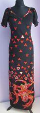 De Colección Señoras Sin Marca Negro/Rojo Estampado Poliéster Maxi Vestido Largo Talla 8/10