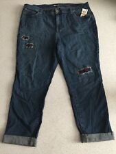 $65 (NWT) Style&Co Women's Patchwork Boyfriend Cropped Jeans Plus Size 18W
