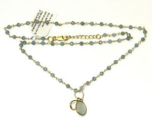 """925 Sterling Silver Gold Plated Multi Gemstone Bead Quartz necklace 5.3g 17.5"""""""
