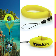 1 Neon Yellow Floating Foam Strap for Waterproof Camera Go Pro Marine Binocular