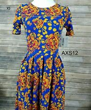 LLR XS Floral AMELIA DRESS -  Blue & Gold w/ POCKETS Back Zip NWT