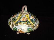 Vintage Footed Hand Painted Raised Cherub Figure Trinket Box Italy RARE 5 sides