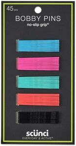 Scunci Bobby Pin Hair Clips Multi Colour 45 Pieces Black Orange Green Pink Blue