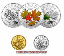CANADA $20 1oz FINE SILVER COIN- MAJESTIC MAPLE LEAVES IN  PURE GOLD & PLATINUM
