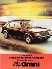 1981 Dodge Omni Original Canada Car Sales Brochure Catalog