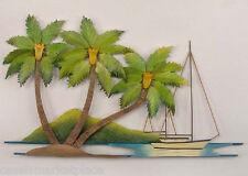 Tropical Art Designs Medium Palm Trees Scene Handmade Metal Wall Sculpture