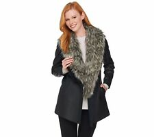 Dennis Basso Faux Leather Jacket with Removable Faux Fur Collar, Size 1X, $149