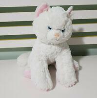 BUILD A BEAR WHITE CAT TEDDY STUFFED ANIMAL 30CM LONG! WHITE TOY CAT! BLUE EYES
