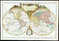 1782 MAPPE-MONDE GLOBE TERRESTRE Double Hemisphere WORLD MAP by Janvier (JM)