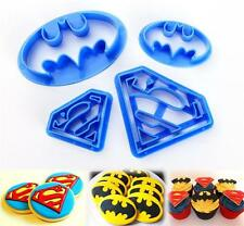 4pcs Superman Batman Shaped Biscuit Cake Pastry Cookie Mould Fondant Cutter HOT