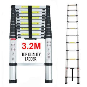 3.2M Portable Aluminium Telescopic Ladder Extendable Extension 11 Steps Ladder