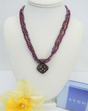 Avon Copper Tone Multi Strand AMETHYST Color Crystal Bead Pendant Necklace NIB