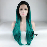 """24"""" Black Mixed Green Ombre Dark Root Long Wavy Party Sexy Women Lace Front Wig"""