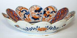 "Antique Japanese Imari Hand Painted Scalloped Edge Porcelain Bowl 11"""