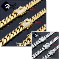 """7""""-11""""MEN Stainless Steel 10/12/14mm Gold/Silver ICED Miami Cuban Chain Bracelet"""